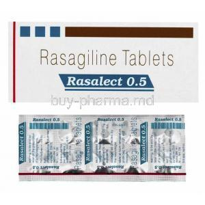 Rasalect, Rasagiline 0.5mg box and tablets
