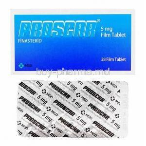Proscar, Finasteride box and tablets