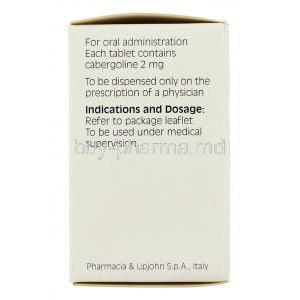 Cabaser Cabergoline 2 mg box information