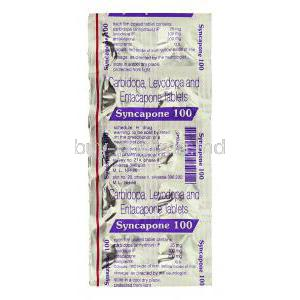 Syncapone, Generic Stalevo, Carbidopa 25 mg/ Levodopa 100 mg/ Entacapone 200 mg packaging
