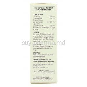 Otirel, Ofloxacin/ Clotrimazole/ Beclomethasone /Lignocaine Ear Drops box composition