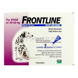 Frontline for Dog Spot On Fipronil 10% 2.68ml for big Dog (20-40kg) 3 pipette