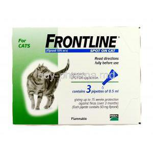 Frontline for Cat Spot On Fipronil 10% 3 pipettes of 0.5 ml