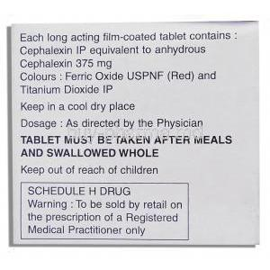 Ceff, Generic Keflex,   Cephalexin 375 Mg Tablet (Lupin)