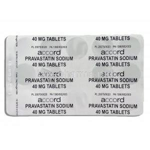 Generic Pravachol,  Pravastatin 40 mg packaging