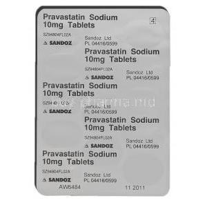 Generic Pravachol, Pravastatin 10 mg packaging