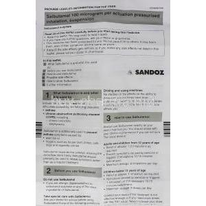 Salbutamol Pressurised Inhalation Inhaler information sheet 1