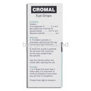 Cromal , Generic  Intal Eye Drop, Sodium Cromoglycate/Benzalkonium box composition