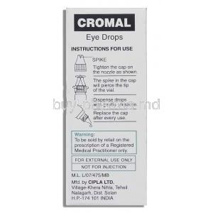 Cromal , Generic  Intal Eye Drop, Sodium Cromoglycate/Benzalkonium box instructions