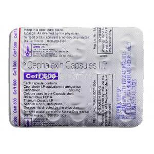 Ceff, Generic  Keflex, Cephalexin 500 mg packaging