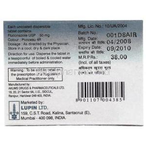 Flucalup 50 DT, Generic Diflucan, Fluconazole Dispersible 50mg Box Information