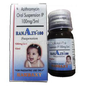 Ranazy-100, Generic Zithromax,  Azithromycin Oral Suspension, 100 mg  5 ml, 15 ml, Suspension