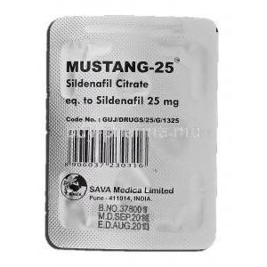 Mustang-25, Sildenafil Citrate 25mg Tablet Strip Manufacturer Sava Medica
