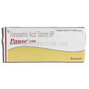 Pause-500, Generic  Cyklokapron, Tranexamic Acid, 500 mg, Box