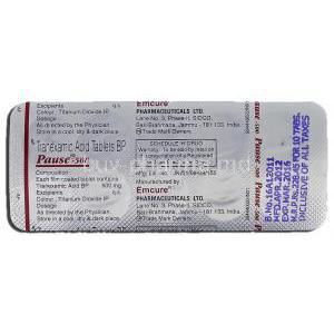 Pause-500, Generic  Cyklokapron, Tranexamic Acid, 500 mg, Strip description