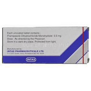 Pramirol-0point5, Generic Mirapex, Pramipexole Dihydrochloride, 0.5 mg, Box description