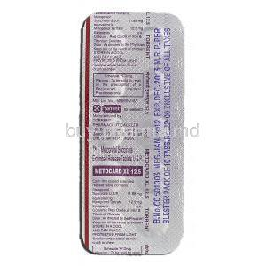 Metocard XL 12.5, Generic  Lopressor Toprol XL, Metoprolol Succinate Extended Release, 12.5 mg, Strip description