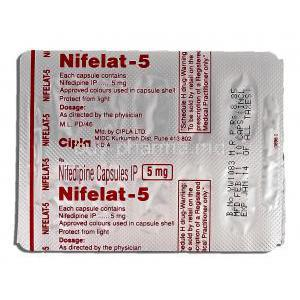 Nifelat-5, Generic Adalat, Nifedipine, 5mg, Strip description