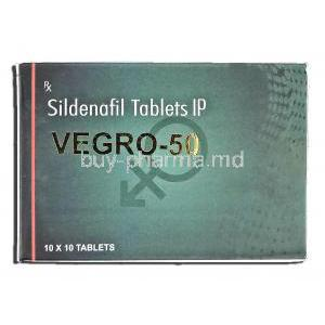 Vegro-50, Sildenafil Citrate 50mg Box