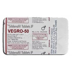 Vegro-50, Sildenafil Citrate 50mg Tablet Strip Information