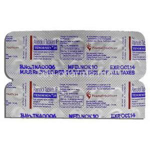 Tenormin, 25mg, Atenolol, Tablet, Strip Description.JPG
