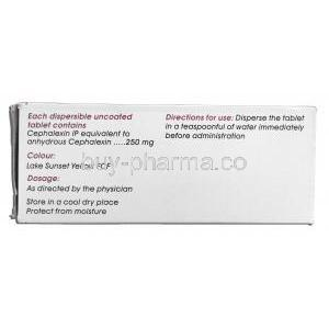 Cephadex-250 DT, Generic Keflex, Cephalexin, 250 mg Box Description