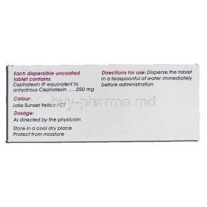 Cephadex 250 DT, Generic Keflex, Cephalexin Dispersible 250mg Box description
