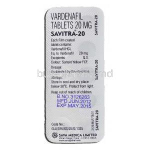 Savitra-20, Vardenafil 20mg, Strip description