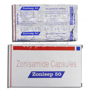 Zonisep 50, Generic Zonegran, Zonisamide 50mg, Box and Strip