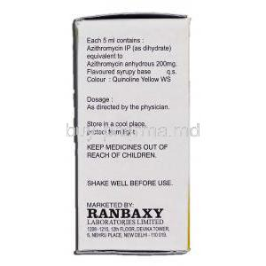 Ranazy 200, Generic Zithromax, Azithromycin Oral 200mg per 5ml Suspension, Box description