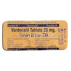 Snovitra 20, Vardenafil 20mg, Strip description
