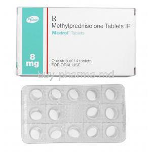 Medrol, Branded Medrol, Methylprednisolone 8mg, Box and Strip