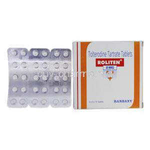 Roliten, Generic Detrol, Tolterodine Tartrate, 2 mg, Strip and Box