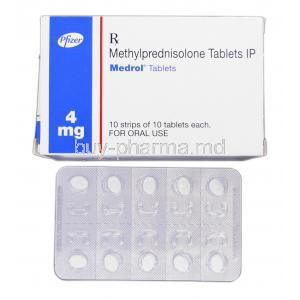 Medrol, Brand, Methylprednisolone, 4mg, Box and Strip