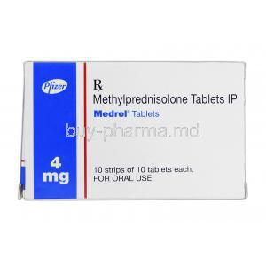 Medrol, Brand, Methylprednisolone, 4mg, Box