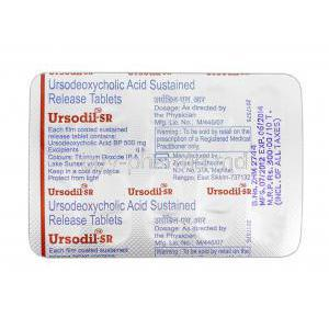 Ursodil-SR, Generic Urso, Ursodeoxycholic Acid SR, 500ng, Strip Description