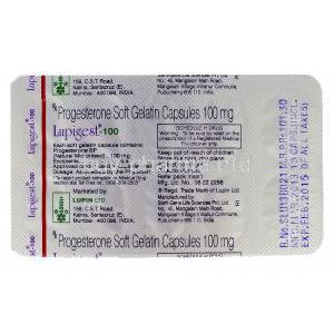 Lupigest, Progesterone 100mg  blister pack information