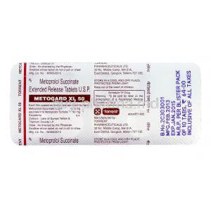 Metocard XL, Generic  Lopressor Toprol XL, Metoprolol Succinate  XR 50mg blister pack information