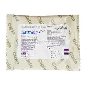 Imudrops, Generic Restasis,  Cyclosporine Eyedrops packaging