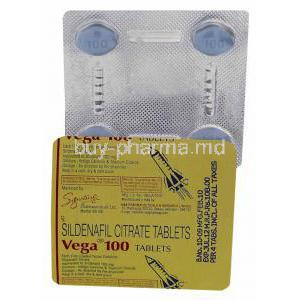 Vega, Sildenafil Citrate 100mg Tablet Strip Information