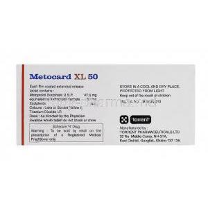 Metocard XL 50, Generic Lopressor, Metoprolol Succinate 50mg composition and manufacturer