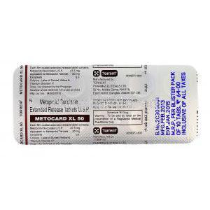 Metocard XL 50, Generic Lopressor, Metoprolol Succinate 50mg blister pack information