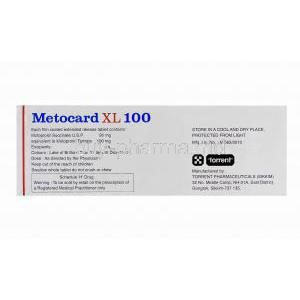 Metocard XL 100, Generic Lopressor, Metoprolol 100 mg composition and manufacturer
