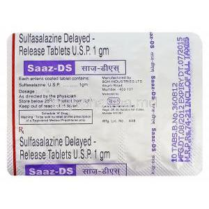 Saaz-DS, Generic Azulfidine, Sulfasalazine 1gm Delayed Release Blister Pack Information