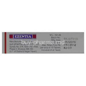 Generic  Zetia, Ezetimibe 10 mg manufacturing data