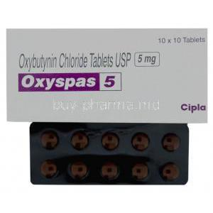 Oxyspas, Generic  Ditropan, Oxybutynin 5 mg (Cipla) Box and Tablet