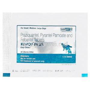 Kiwof Plus Easy Chews, Generic Drontal Plus, Praziquantel 50mg, Pyrantel Pamoate 144mg, Febantel 150mg Tablet Pack