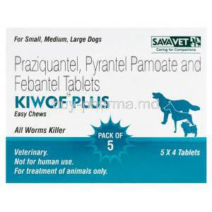 Kiwof Plus Easy Chews, Generic Drontal Plus, Praziquantel 50mg, Pyrantel Pamoate 144mg, Febantel 150mg Box
