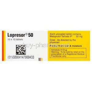 Lopresor 50, Metoprolol Tartrate 50mg Box Composition