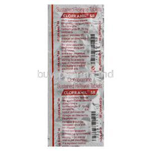 Clofranil SR, Generic Anafranil, Clomipramine Hydrochloride 75mg Sustained Release Tablet Blister Pack Information